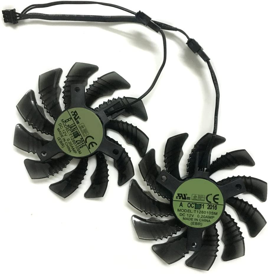 2pcs//lot T128010SM 75mm DC 12V 0.20A Graphics Card Fan Replacement For GIGABYTE Video Cards Cooling 2pcs//lot