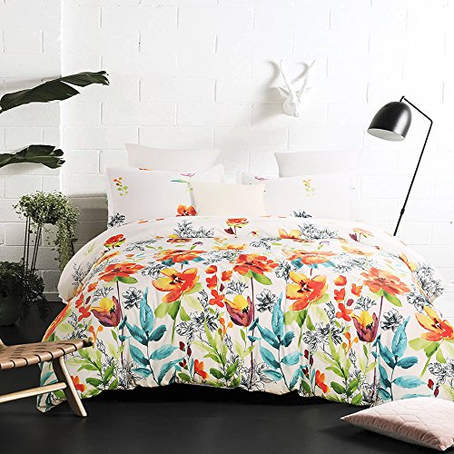 Vaulia Lightweight Microfiber Duvet Cover Set, Colorful Floral Print Pattern, White Multi-Color - King Size
