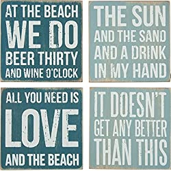 Primitives By Kathy Box Sign Coasters (Set of 4)- Beach Blue