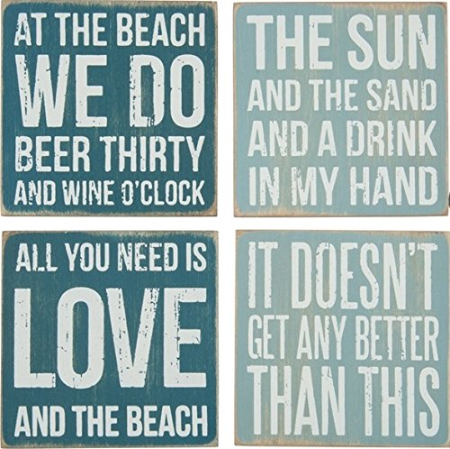 Primitives By Kathy 27359 Square Drink Coaster Set, 4', Beach