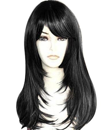 Amazon Com Kalyss Yaki Synthetic Women S Wig With Hair Bangs
