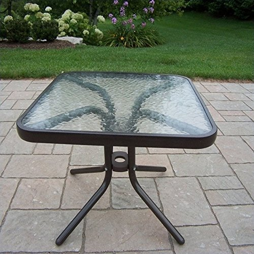 Oakland Living Glass Top Side Table, 20-Inch, Coffee - Patio Table Finish