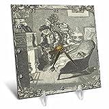 3dRose TDSwhite – Christmas Holidays Xmas - Vintage Father Christmas Santa Claus Baby Fireplace - 6x6 Desk Clock (dc_285087_1)