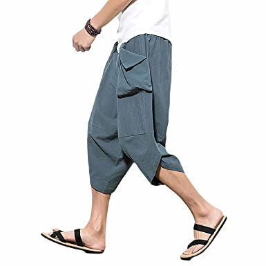 Herren Leinen Haremshose Pumphose mit Zwei Taschen,Herren Strandhosen Bequem  Atmungsaktiv Sommerhosen Loose Leicht Leinenhosen 4838974f9c
