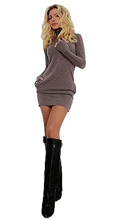 193748d70562 Abito corto donne Inverno collo alto a maniche lunghe aderente casuale  sottile  Amazon.it  Abbigliamento