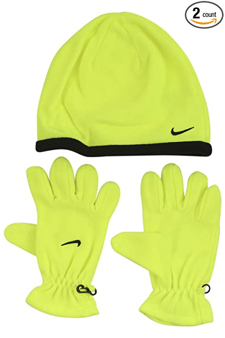 b16e388d0cf0c Nike Youth Boys Winter Fleece Hat Beanie Cap Gloves Set Sz 8 20 Neon