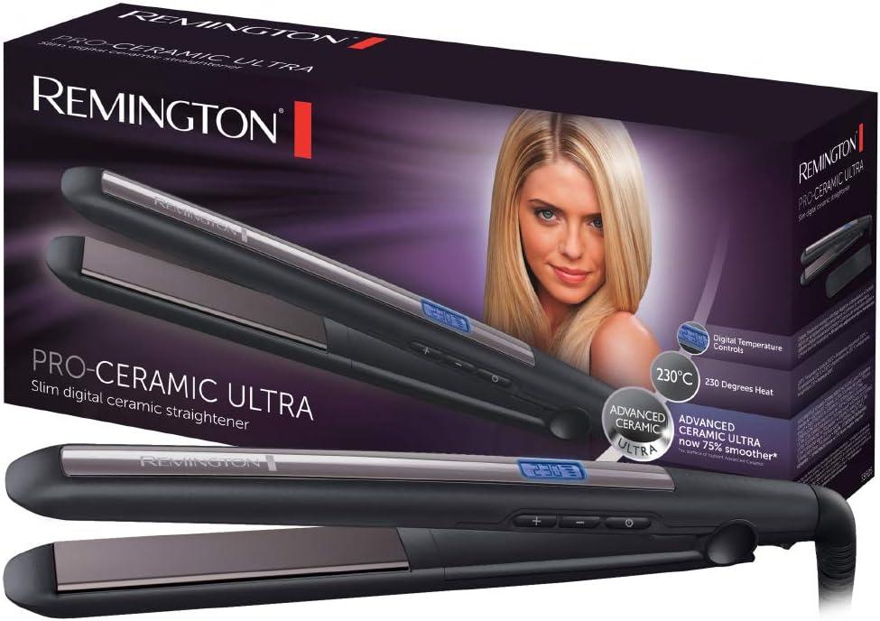 Remington Pro Ceramic Ultra S5505 - Plancha de Pelo, Cerámica Avanzada, Digital, Placas Extra Largas, Negro y Morado