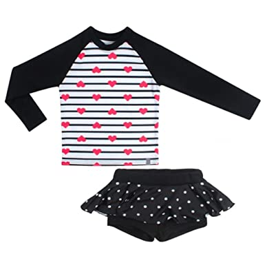 9799835e9a Little Girl Long Sleeve Rash Guard Bikini Swimsuit Set Sunsuit Top + Ruffle  Skirt Pants Two