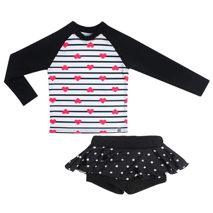 230dc3cc53731 Girls Rashguard Swimsuit Two Pieces UV Sun Protection Tankini Sets Swimwear  Top Shirt + Shorts Skirt Swim Set Bathing Suit UV Sunsafe Long Sleeve  Beachwear ...