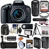 Canon EOS Rebel T7i Digital SLR Camera Video Creator Kit & EF-S 18-55mm + 55-250mm is STM Lens + RODE Mic + 32GB + Case + LED + Battery & Charger + Grip Kit