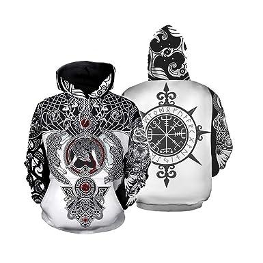 Fira Woo Sudaderas con Capucha Unisex Tatuaje de Vikingo Sudadera ...