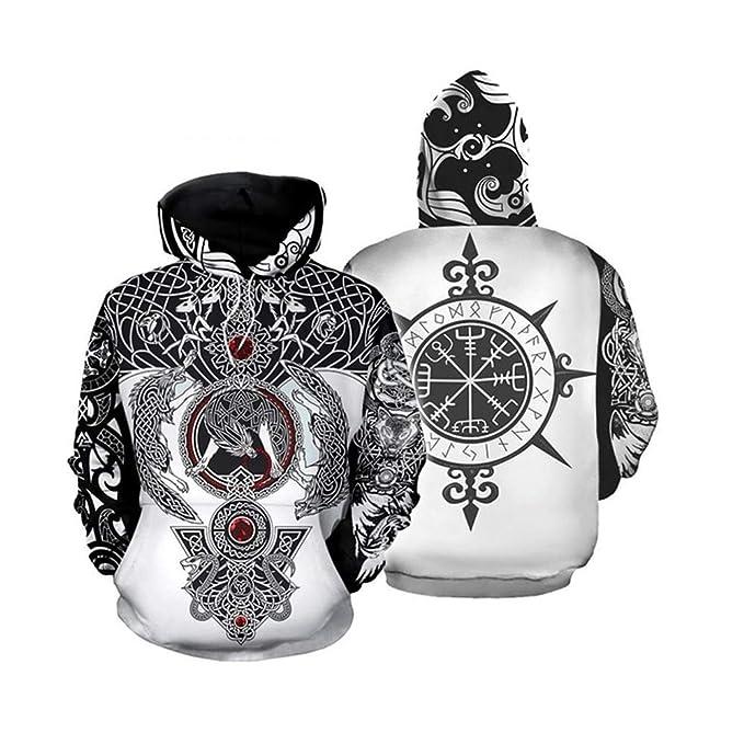 Luckyid Sudadera con Capucha vikinga Impresión de Tatuaje Jersey ...