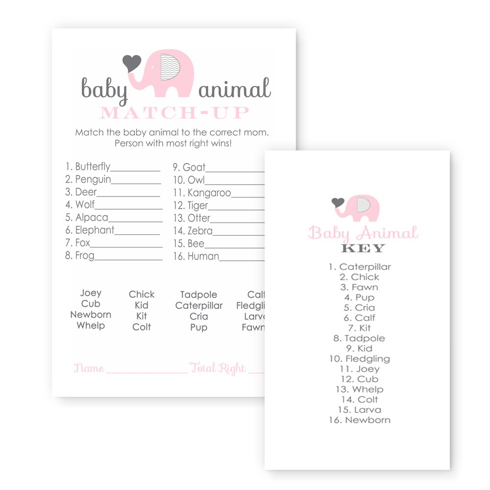 Pink Elephant Baby Shower Game Animal Match (25 Pack) by Paper Clever Party