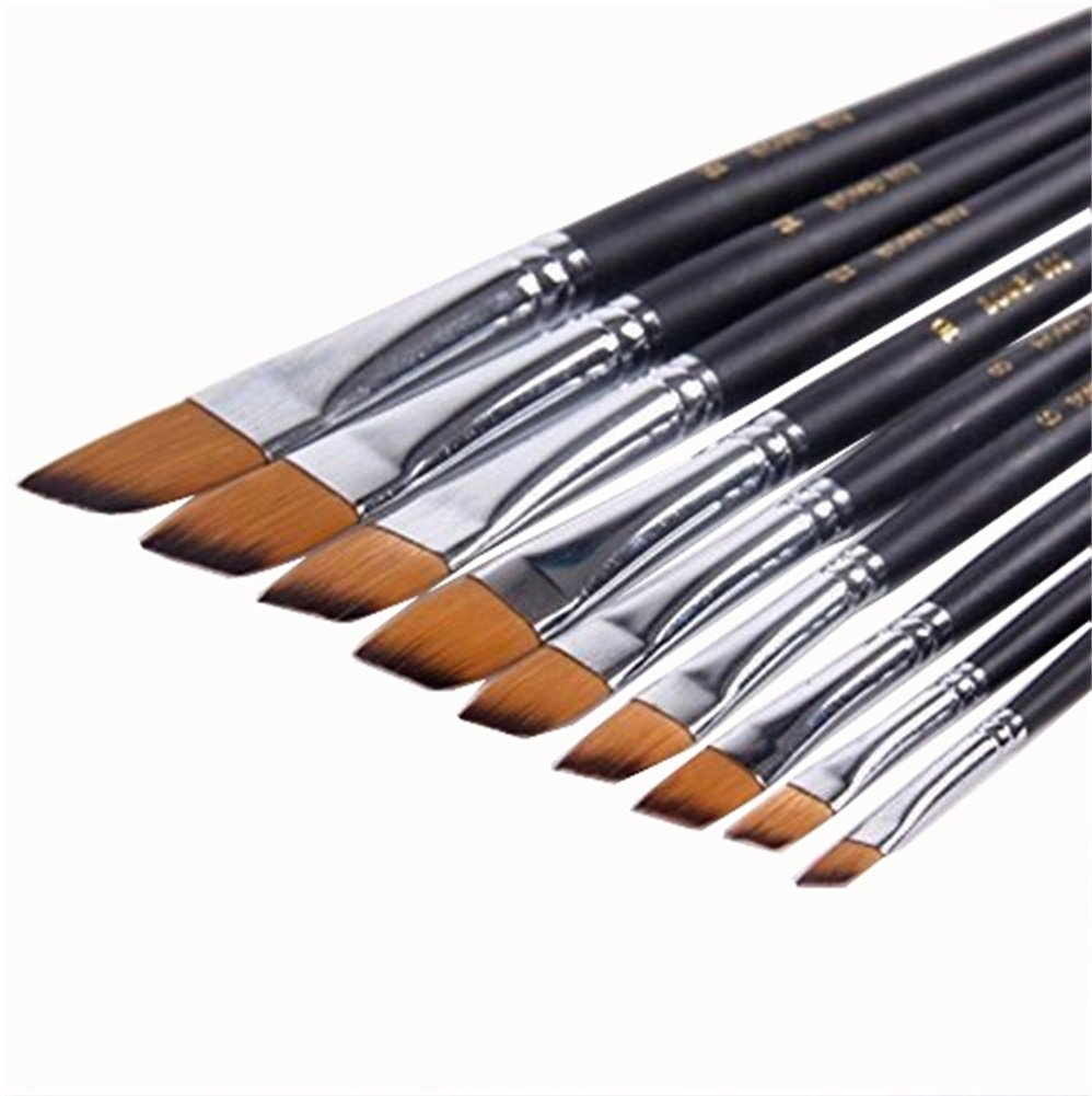 9Pcs Sable Weasel Hair Angled Flat Tipped Paint Brushes Set Birch Long Handle for Watercolor,Acrylic and Liner Painting, 6 Sizes