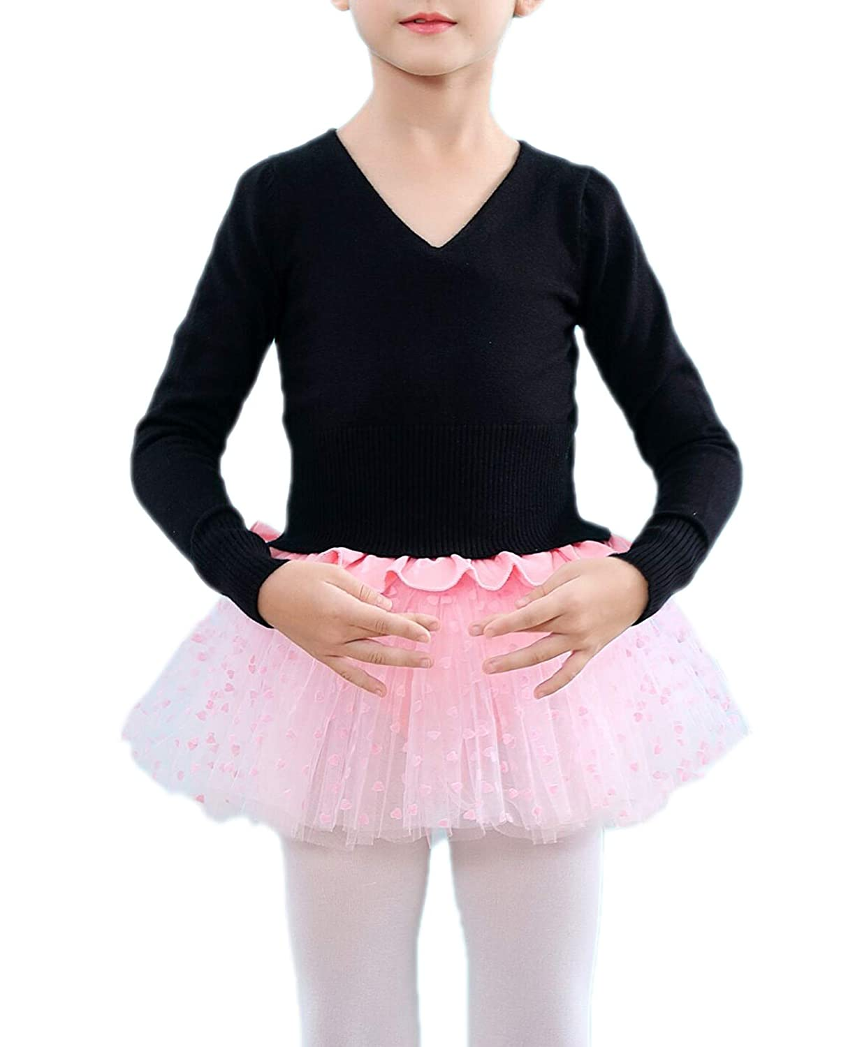 Kidsmian Girls Classic Thick Dance Wear Leotards Ballet Long Sleeve Wrap Top