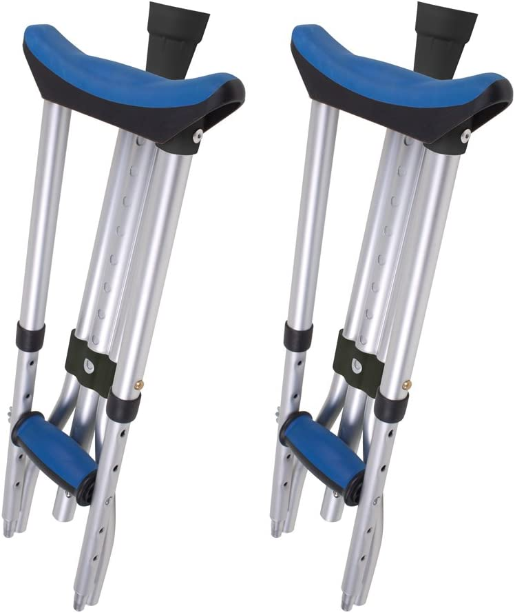 "Carex Folding Crutches - Folding Aluminum Underarm Crutches - Lightweight, Great for Travel or Work, 2 Crutches Included, for 4'11"" to 6'4"" People"