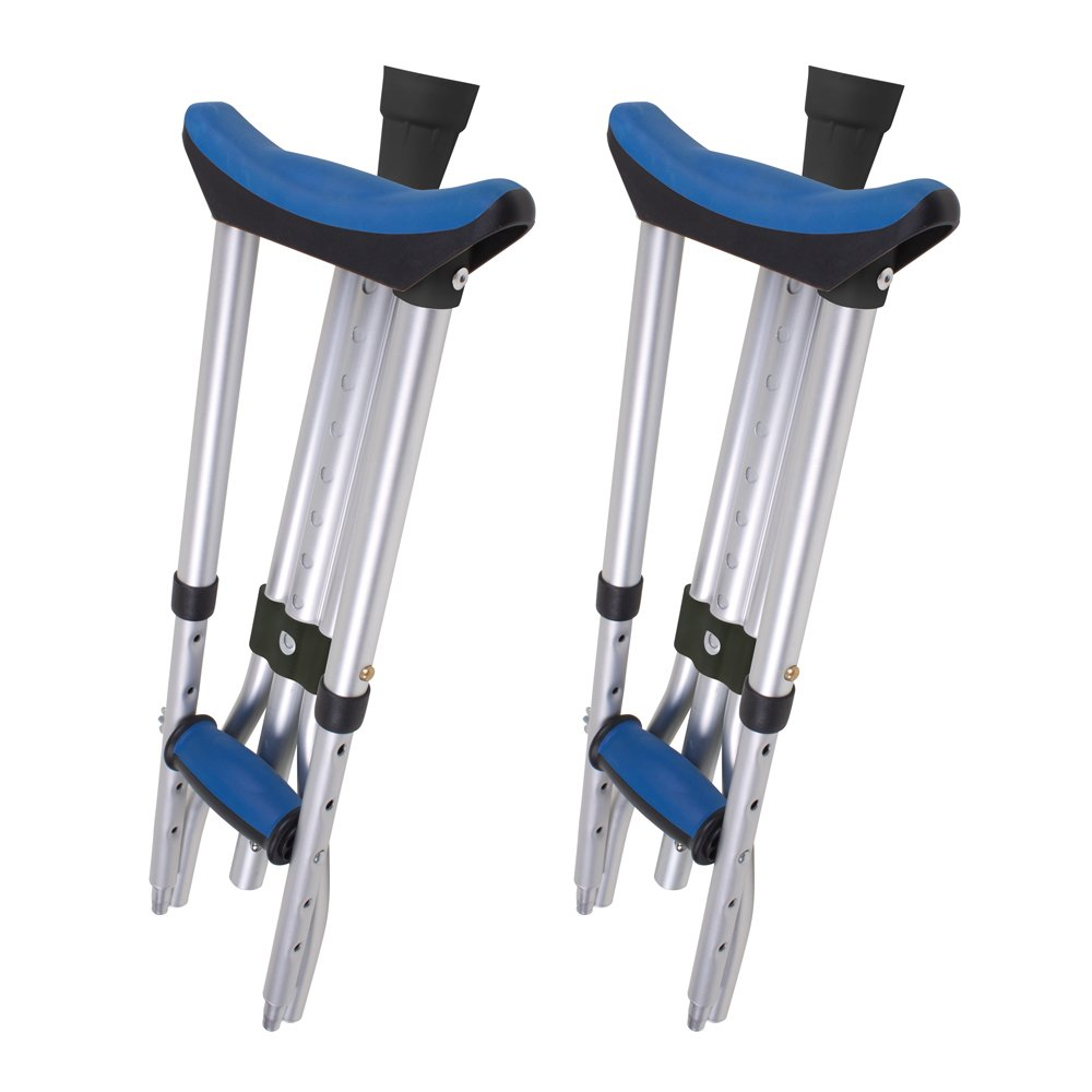 Carex Folding Crutches, 5 Pounds, Folding Underarm Crutches for Increased, Mobility During Injury Recovery, Great for Travel or Work, 2 Crutches Included, For 4'11'' to 6'4'' People