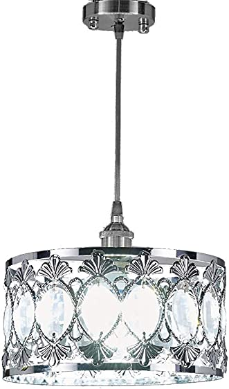 Diamond Life 1-Light Chrome Finish Modern Crystal Chandelier Pendant Hanging Lighting Fixture