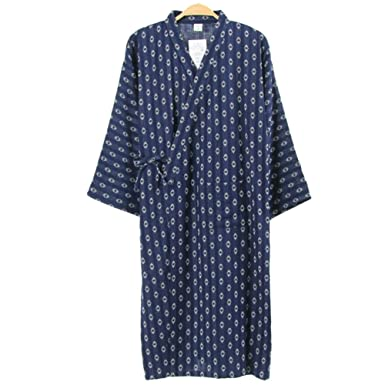 9635ce7bd3 Image Unavailable. Image not available for. Color  Men s Japanese Style  Robes Pure Cotton Kimono Robe Bathrobe Pajamas ...