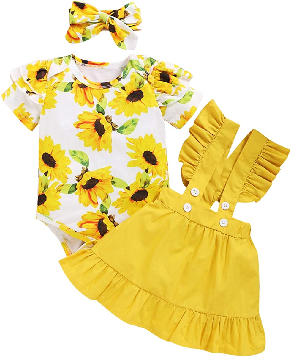 Baby Girls Floral Outfit Romper Suspenders Skirt Newborn Princess Ruffle Sleeve 3PCS Birthday Summer Fall Clothes Set