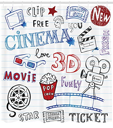 Ambesonne Movie Theater Shower Curtain, Various Hand Drawn Icons on a Notebook Page Style Backdrop Hollywood Fun, Cloth Fabric Bathroom Decor Set with Hooks, 70 inches, Multicolor -