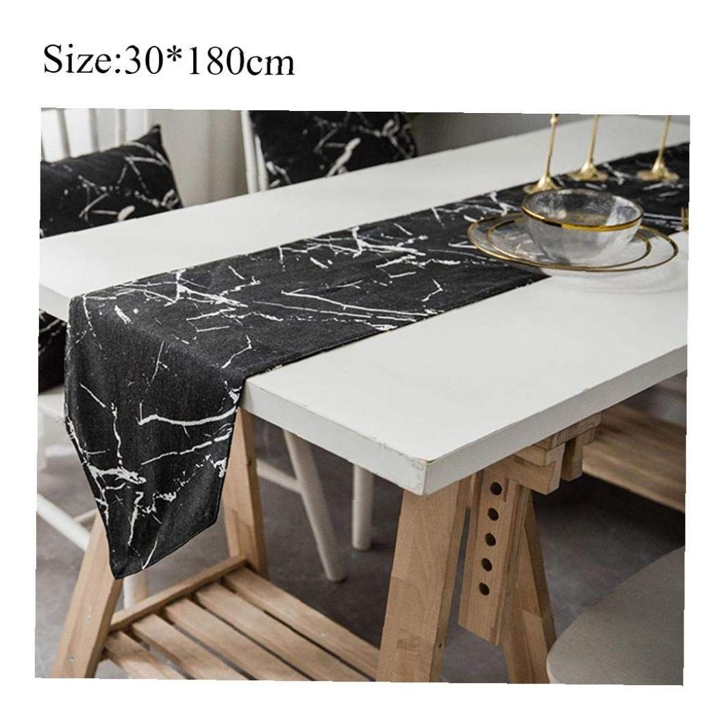 70.7 Inches Antique White Marble Stone Table Runner Linen Cotton Cloth Placemat Home Decor for Kitchen Dining Wedding Party 12