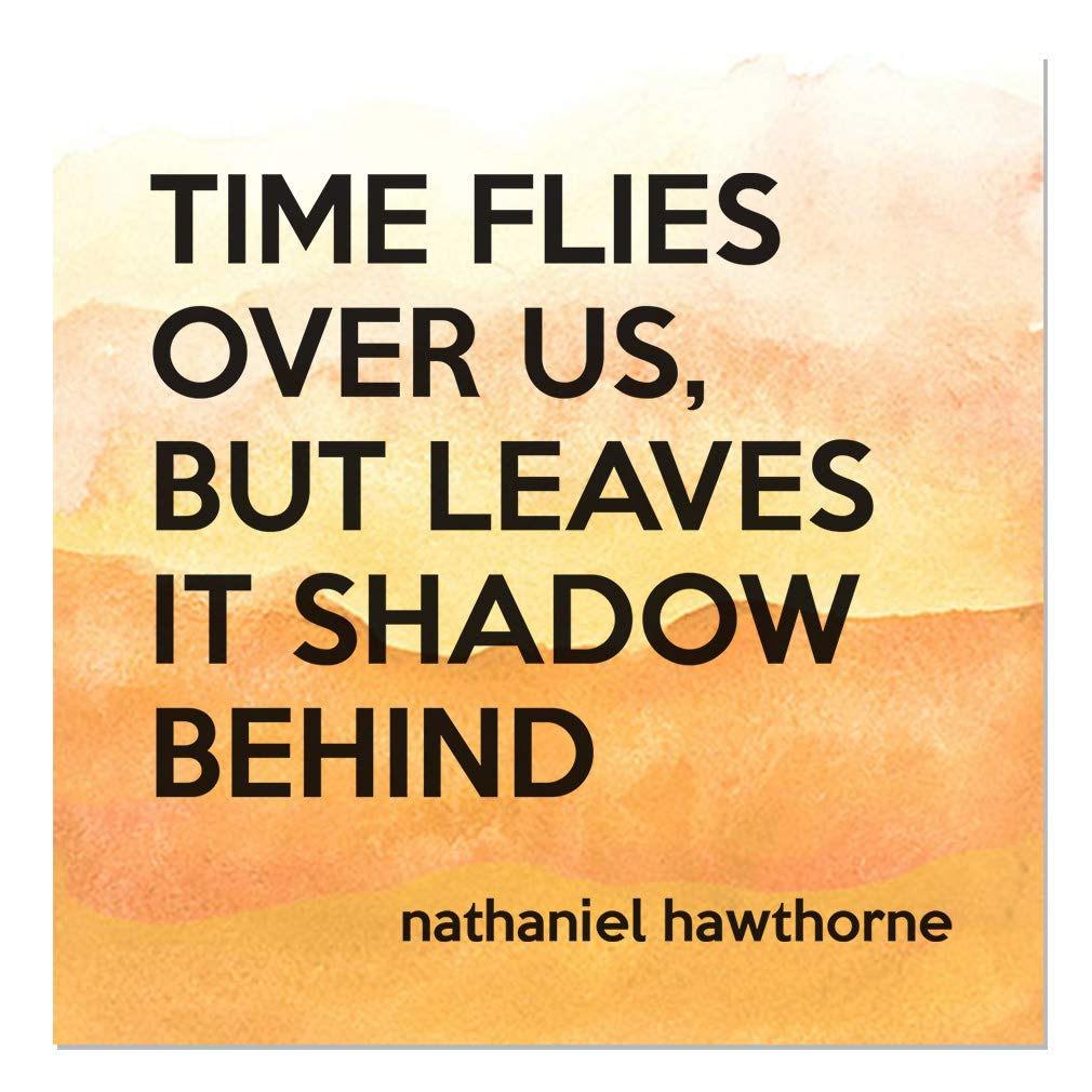Aluminum Metal Sign Décor Time Flies Over Us, But Leaves It Shadow Behind Inspiration & Motivation Novelty Square Wall Art - Orange Water, 18''x18''