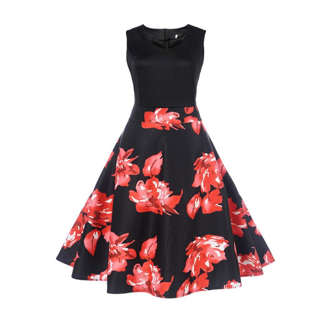 Alixyz Women Dress Vintage 1950s Printing Sleeveless Prom Swing Evening Party Dress