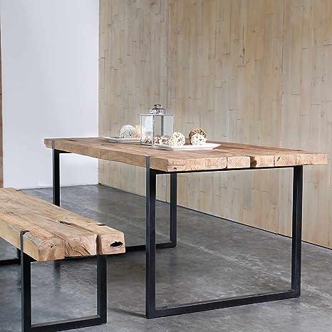 Mesa de comedor industrial metal y teca reciclada 175 a 235 ...