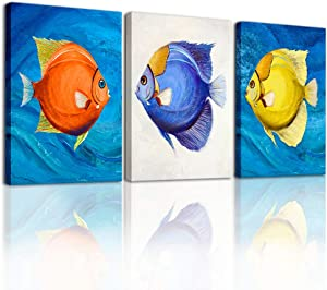 Canvas Wall Art for Kitchen dining room Decoration Wall Paintings,Bedroom Wall Decor abstract Colorful fish Hang Pictures Posters Artwork,Living Room inspirational wall art Home Decoration 3 Piece Set