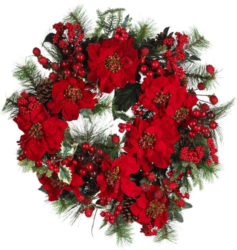 Nearly Natural 4660 Poinsettia Wreath Holiday, 24-Inch ()