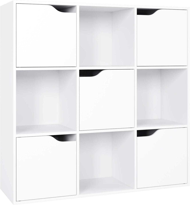 Homfa Librería Estantería de Pared para Libros y almacenaje con 9 Cubos y 5 Puertas 89.9X29X89.8CM