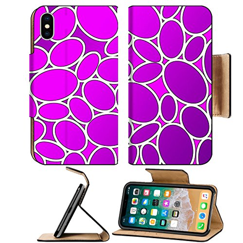 Luxlady Premium Apple iPhone X Flip Pu Leather Wallet Case IMAGE ID: 17533651 oval pattern in fashion trend colors pink (Oval Fall Colors)