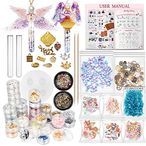 Funshowcase Resin Art Magic Potion Tube and Stopper Epoxy Shaker Silicone Mold Jewelry Casting Kit Set of 78 Supplies Glitter Confetti Crystal Glass Beads Gold Foil Inlay Steampunk - Beads Tube Glass Foil