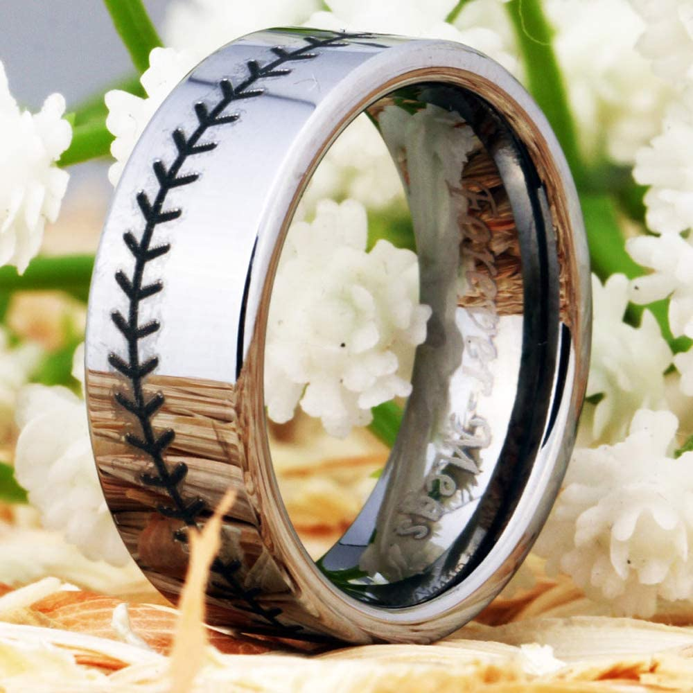 Cloud Dancer Sports Ring Symbology Baseball Engraved Ring 8mm Silver Pipe Tungsten Carbide Ring Wedding Ring and Engagement Ring-Free Engraving Inside
