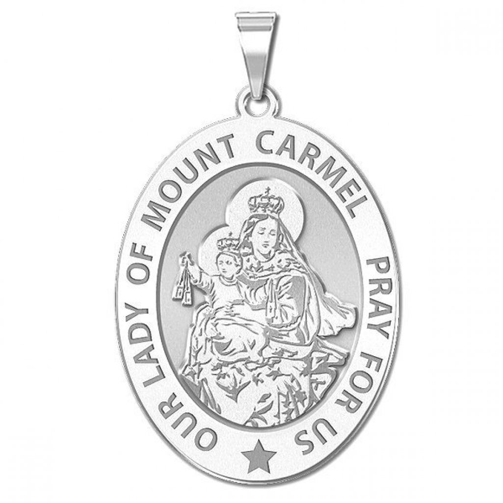 Sterling Silver PicturesOnGold.com Our Lady of Mount Carmel Religious Medal Oval 2//3 X 3//4 Inch Size of Nickel
