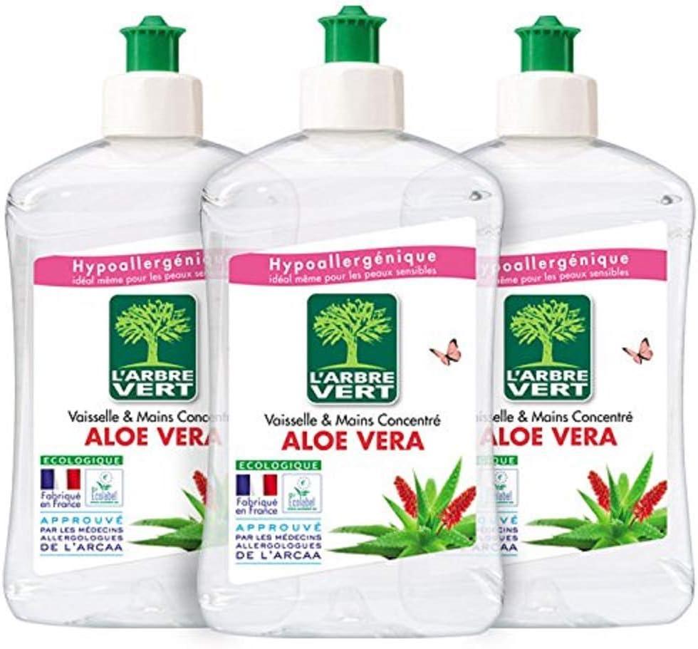 LArbre Vert Líquido lavavajillas a mano, aloe vera, 500 ml, lote ...