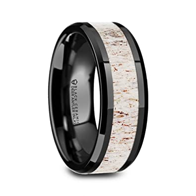 Stag Black Ceramic Wedding Ring With Off White Deer Antler Inlay And