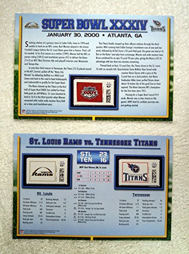 Super Bowl XXXIV (2000) - Official NFL Super Bowl Stamp Collection - 2 Pieces / 3 Stamps - St. Louis Rams vs Tennessee Titans - Kurt Warner MVP
