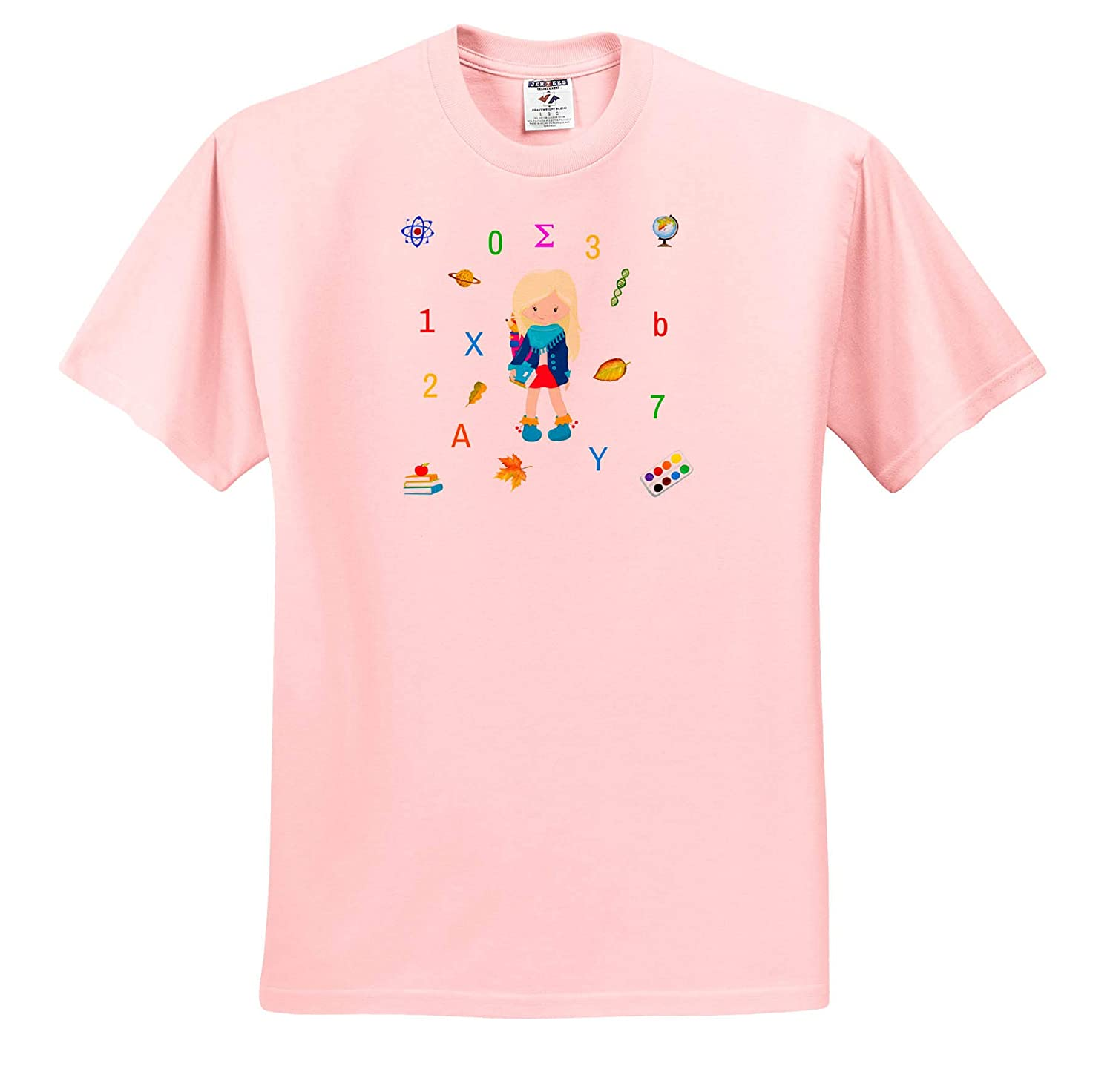 Letters Elegant Back to School Scene of a Girl Numbers Pattern Back to School T-Shirts 3dRose Alexis Design Symbols