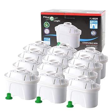 FilterLogic FL402H   Filterkartuschen für Tischwasserfilter kompatibel mit Brita Maxtra Wasserfilter - 12er Pack