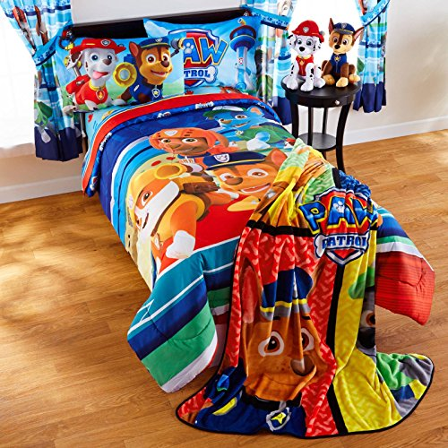 Paw Patrol Puppy Hero Twin Comforter & Sheets (4 Piece Kids Bed In A Bag) + HOMEMADE WAX - Celebrity Set Comforter