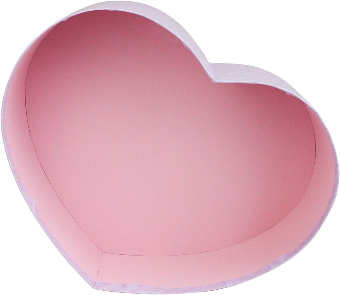 Rosa Innenraum und Gestreiftes Schleifenband Lila Box mit Baby Rosa Deckel 36,3 cm x 29,5 cm x 10,5 cm Emartbuy Starrer Luxus Herzf/örmige Pr/äsentations-Geschenkbox