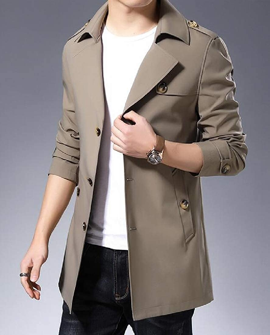 Wofupowga Men Casual Lapel Collar Slim Coat Jacket Overcoat Trenchcoats