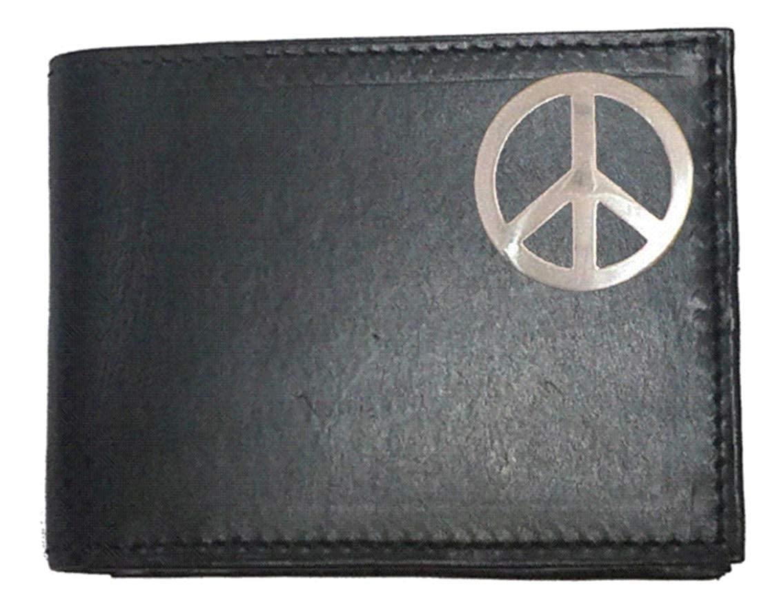 Custom Pease Sign Concho on a Black Harness Leather Bi-fold Wallet Proudly made in the USA.