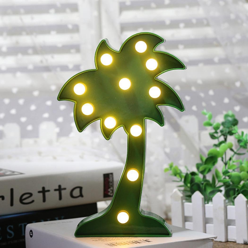 Hindom 3D Green Coconut Mini LED Christmas Animal Plant Warm Light Colorful Decorative Light Party Night Lamp Bedroom Decor Gift by Hindom