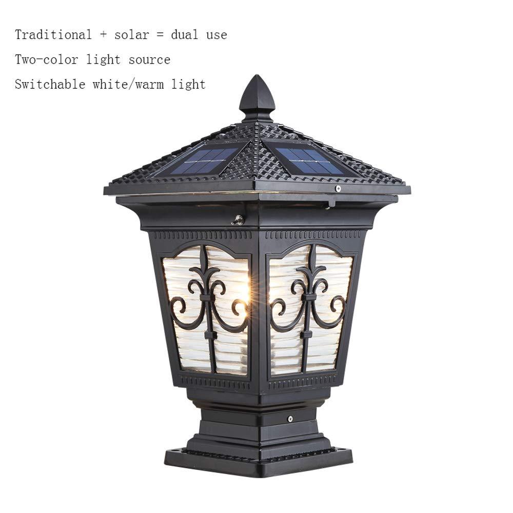 Alberino solare alimentato per esterni leggero pilastro impermeabile per patio esterno Cortile Cortile Esterno pilastro di pilastro per pilastro IP54 tradizionale E27 e solare LED