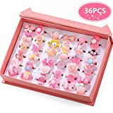 #10: PinkSheep Little Girl Jewel Rings in Box, Adjustable, No duplication, Girl Pretend Play and Dress Up Rings (36 Pink Ring)