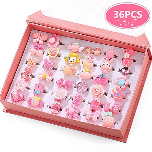 Sheep Toy Bag (PinkSheep Little Girl Jewel Rings in Box, Adjustable, No duplication, Girl Pretend Play and Dress Up Rings (36 Pink Ring))