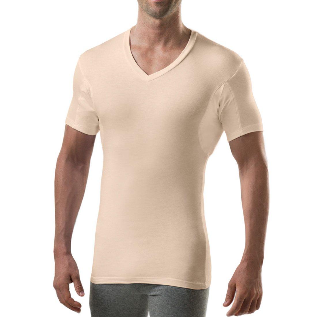 56dbcba50d48 Sweatproof Undershirt for Men with Underarm Sweat Pads (Slim Fit, V-Neck)
